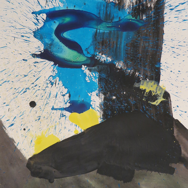 Untitled (Study in black, blue & yellow No 1) 2015 Acrylic on paper, 29 x 22 ins
