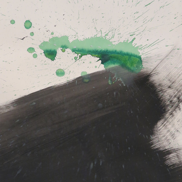 Untitled (Study in black & green No 2), 2015 Acrylic on paper, 29 x 22 ins