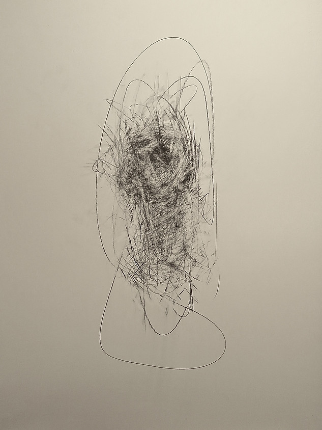 Head, space (Study No 3) 2020 Pencil on paper, 30 x 22 ins