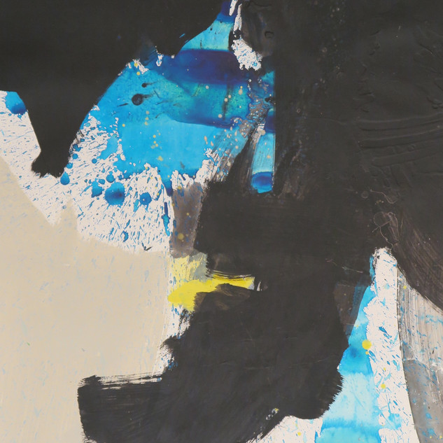Untitled (Study in black, blue & yellow No 2) 2015 Acrylic on paper, 29 x 22 ins