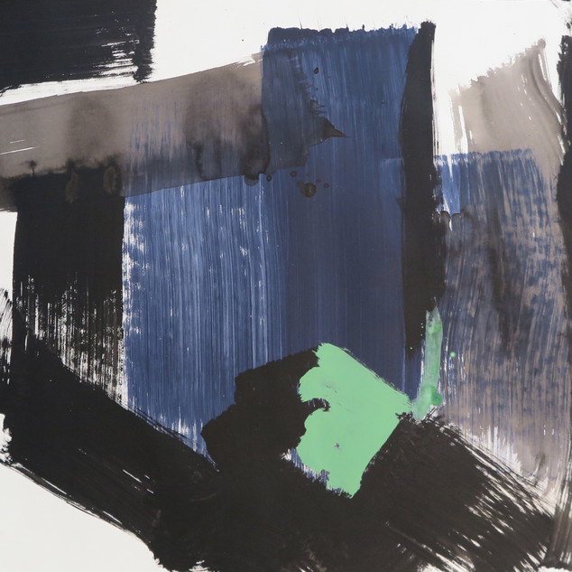 Untitled (Study in black, blue & grey No 2) 2015 Oil on paper, 22 x 29 ins