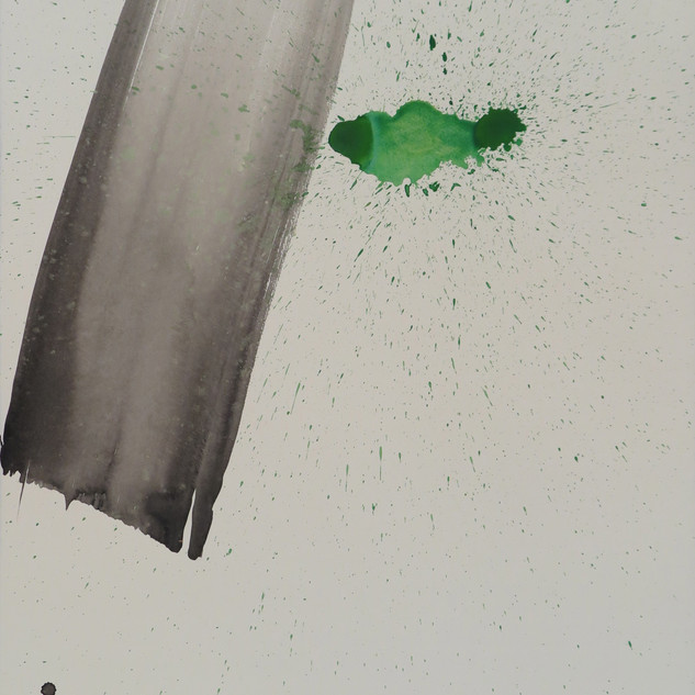 Untitled (Study in black & green No 6), 2015 Acrylic on paper, 29 x 22 ins
