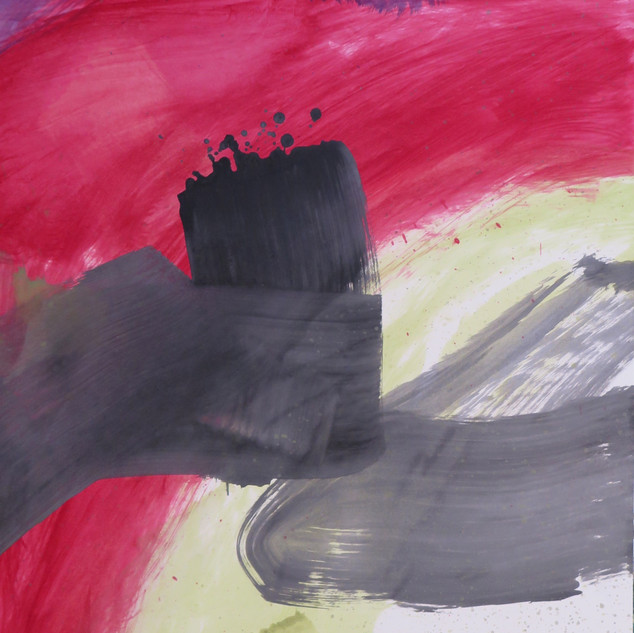 Untitled (Study in black, red & green No 1) 2012 Oil on paper, 29 x 22 ins