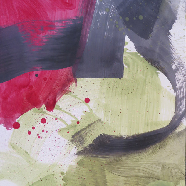 Untitled (Study in black, red & green No 2) 2012 Oil on paper, 29 x 22 ins