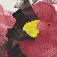 Untitled (Study in black, red & yellow No 1) 2013 Oil on paper, 29 x 22 ins