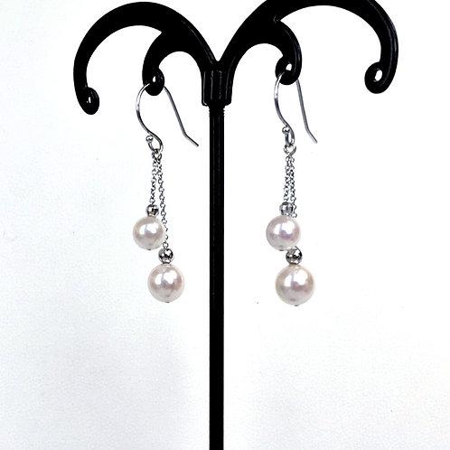 Japanese Akoya Pearl, Double pearl dangling earrings
