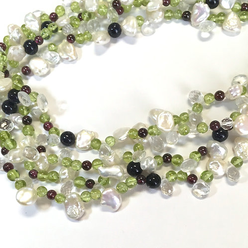 Peridot, Garnet, Pearls, Crystal, Sand Stone necklace