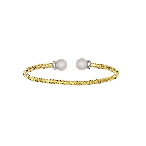 18K Yellow / White Gold woven shiny cuff with Pearls