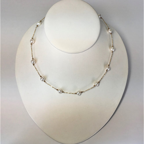 Japanese Akoya Pearl station necklace