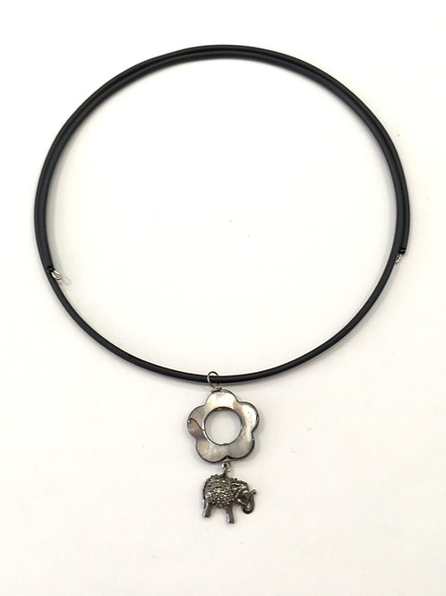 Elephant and flower on rubber necklace
