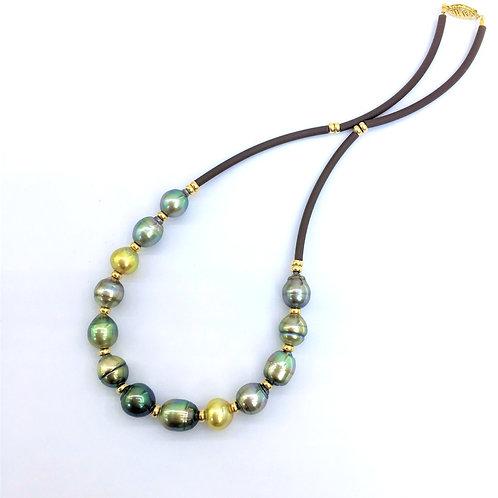 Multi color Baroque Pearl necklace on rubber cord