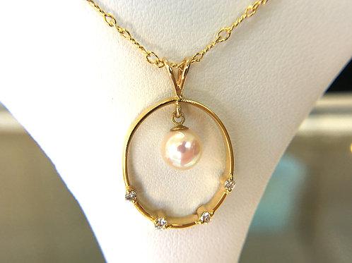 White Japanese Akoya Pearl Diamond circle pendant top - Medium