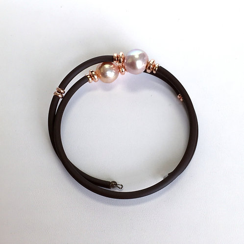 Pink pearls on rubber wire bracelet