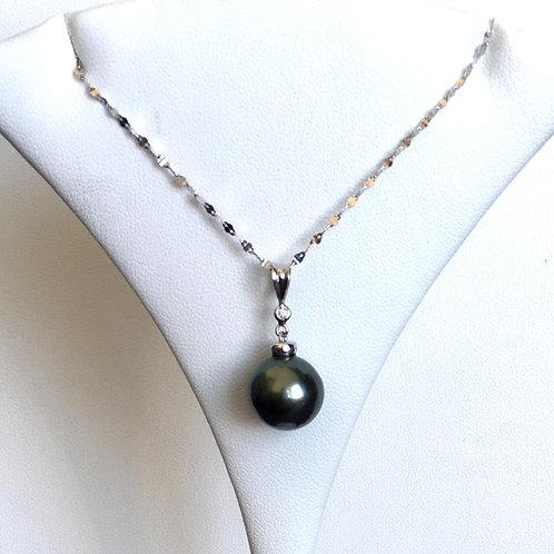 Dark Tahitian Pearl Diamond pendant top