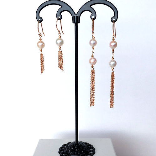 White Japanese Akoya Pearl dangling tassel earrings