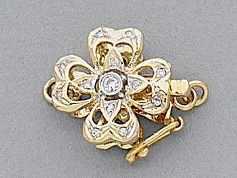 14K Yellow / White Gold floral shaped clasp