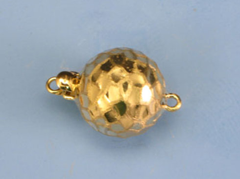 14K Yellow / White Gold hammered ball clasp