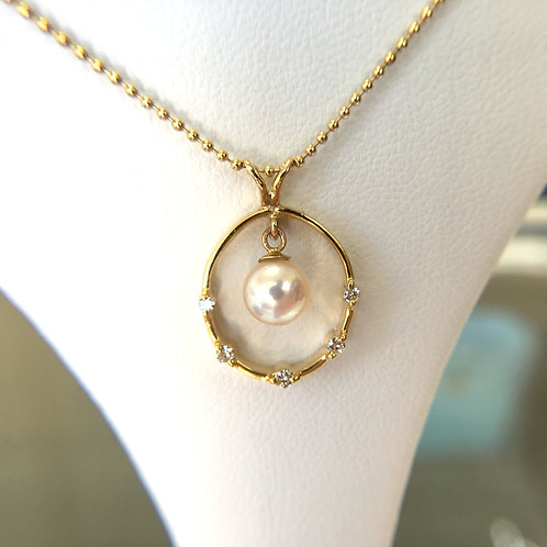 White Japanese Akoya Pearl Diamond circle pendant top -small