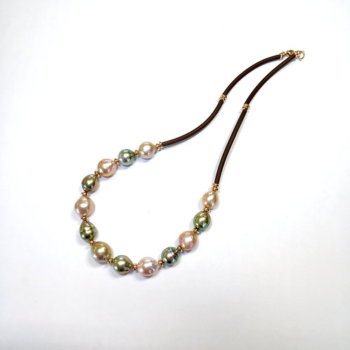Multi color Baroque Pearl necklace on rubber cord
