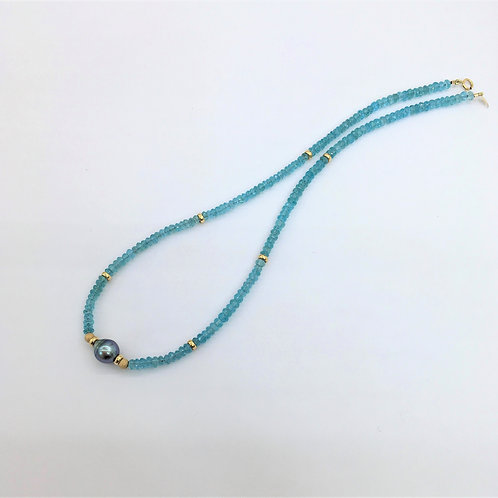 Tahitian Pearl & Caribbean Blue Apatite design necklace