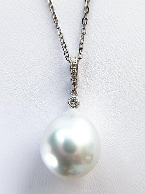 White South Sea Pearl Diamond Pendant top
