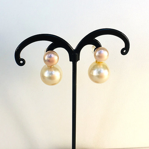 Champagne color South Sea & Pink Freshwater Pearl earrings