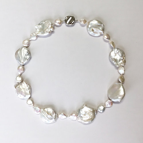 Large Coin Shaped Pearl Necklace