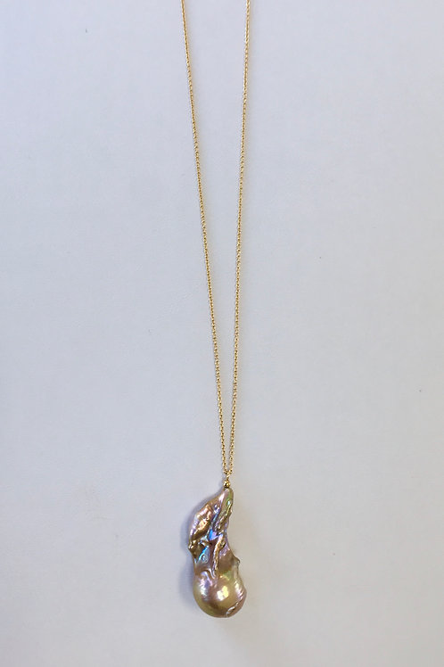 Bronzy Pink Baroque pearl pendant necklace on 14KYG chain