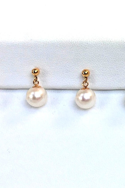 Japanese Akoya Pearl dangling earrings, 7 to 8mm