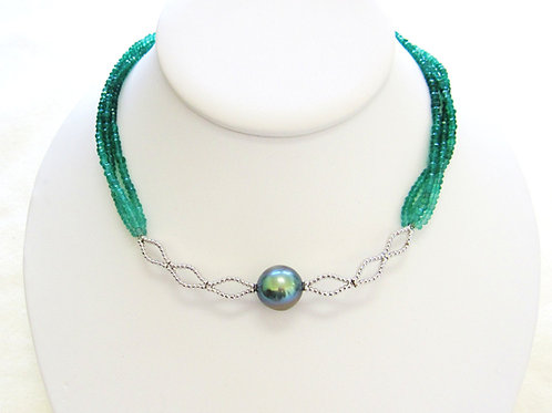 Bright Green Tahitian Pearl & Green Onyx necklace