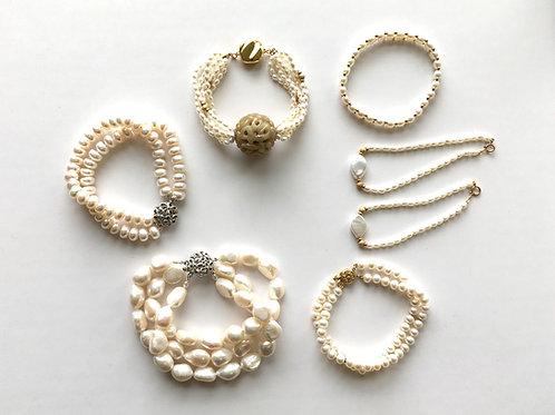 Various White Freshwater Pearl multi strand bracelets
