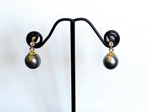 Dark Green Tahitian Pearl & Diamond dangling earrings
