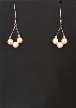 Japanese Akoya tri pearl dangling