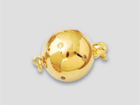14K Yellow / White Gold Diamond ball clasp