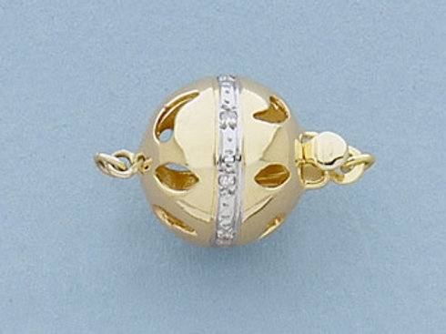 14K Yellow / White Gold Diamond Saturn ball clasp