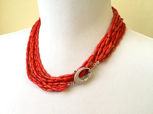 Red Coral Opera necklace