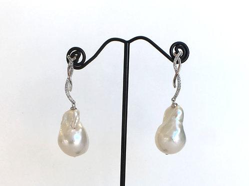 White Baroque Pearl cross earrings