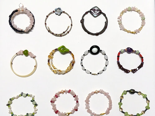 Multi Semi-Precious stone, Glass bead Bracelets. No.2