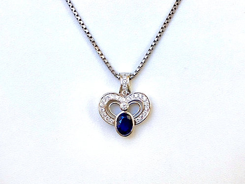 Blue Sapphire & Diamond in Platinum setting, pendant top
