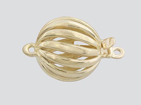 14K Yellow / White Gold Twist Ball clasp