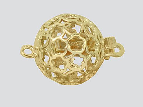 14K Yellow / White Gold flower filigree ball clasp