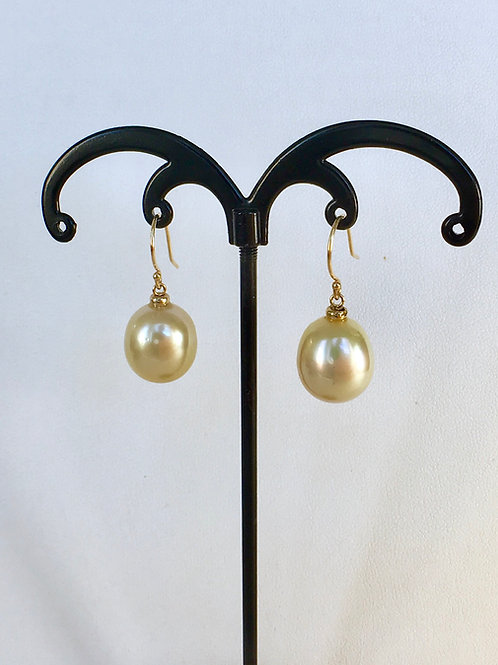 Champagne color South Sea Pearl earrings