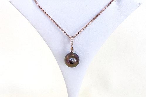 Aubergine Tahitian Pearl Diamond Pendant top
