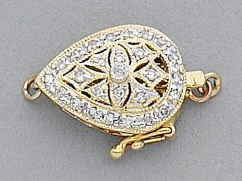 14K Yellow / White Gold almond shaped clasp