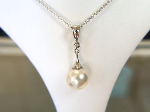 White Japanese Akoya Pearl Diamond pendant top
