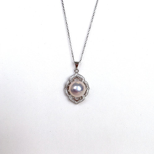 Silvery pink pearl pendant top with chain