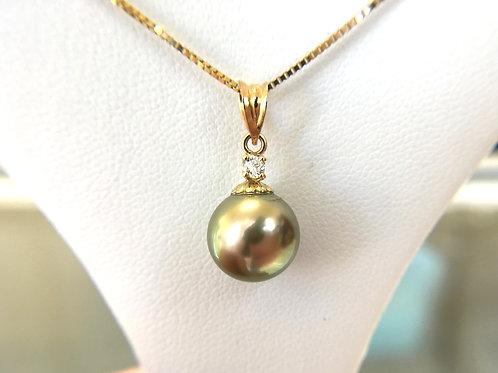 Pistachio Tahitian Pearl Diamond Pendant top