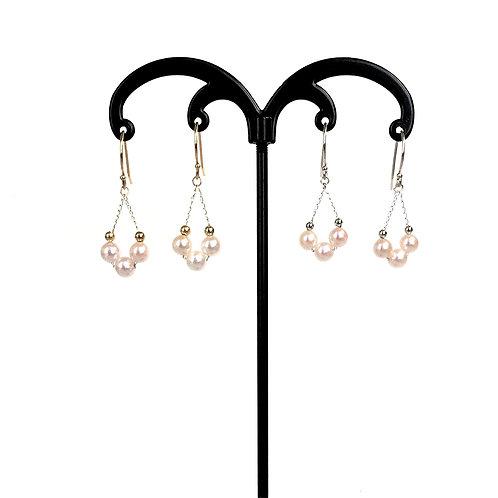 Japanese Akoya Pearl, Tri-Pearl dangling earrings