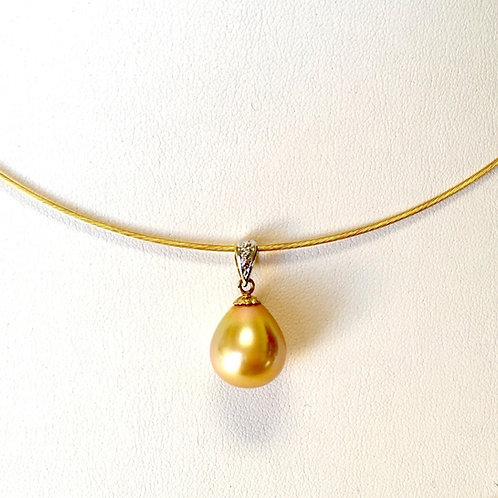 Golden South Sea Pearl Diamond Pendant top