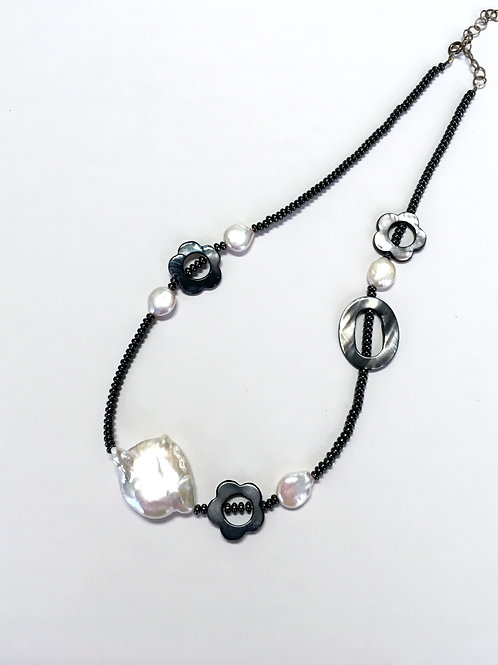 Pearl, Mother of Pearl, Hematite Necklace